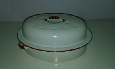 Vintage Enamel Lidded Roasting Dish Casserole Red And White