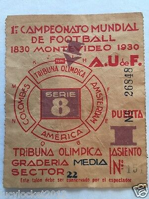 1930 Soccer World Cup Original Ticket  Very Rare Collectors Item Item 2