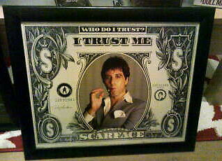 Scarface Dollar Design Movie Framed Picture - Al Pacino-cash on collection only