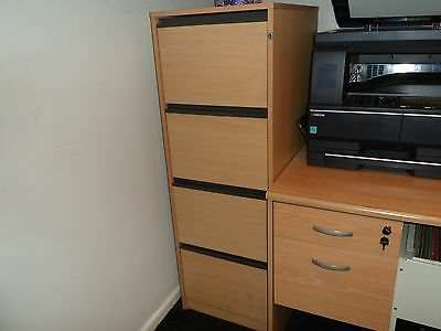 4 Drawer Filing Cabinet Beech Effect Finish Immaculate condition throughout .