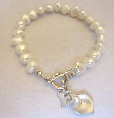 """Fresh Water Pearl and Sterling Bracelel -- Calla Lily and """"E"""" Charm"""