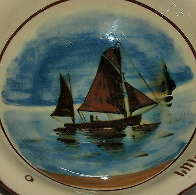 Torquay Pottery Motto Dish With Unusual Painted Scene Of Fishing Boats