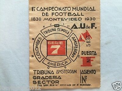 1930 Soccer World Cup Original Ticket  Very Rare Collectors Item Item 1