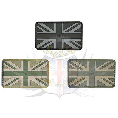 New Union Jack Velcro® Brand Hook Rubber Pvc Morale Flag Patch,mono,vcam,green