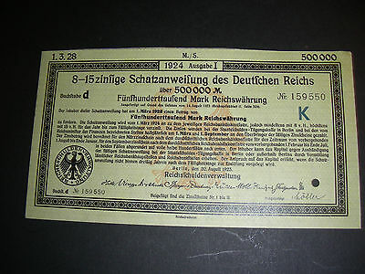 German Reich: 500.000 Mark treasury note, 8-15 % interest, 1923, cancelled