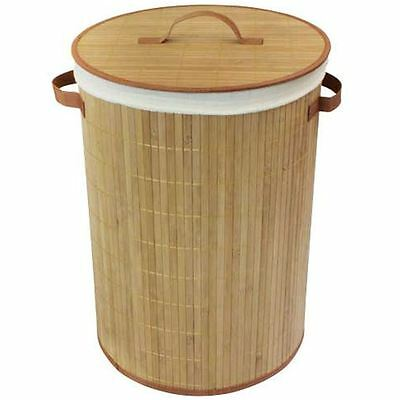 Laundry Basket Bin Collapsible Natural Bamboo Cotton Lining Lid Handles