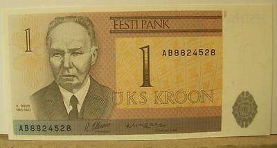 ESTONIA NOTE 1 KROON 1992 P 69 Crisp Uncirculated