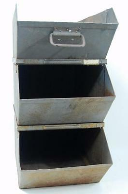Vtg Old Industrial Shop Factory Steampunk STACKABLE BIN SET HEAVY METAL