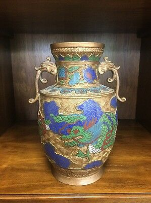 Champleve Vase Early 20th Century Brass/Bronze Cloissone Enamel Ornate Dragon