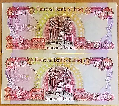 2X25,000 New Iraqi Dinar Note/Currency Collection 50K Total Dinar