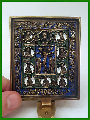 Russia orthodox bronze icon  The Crucifixion with Deesis. Enameled.