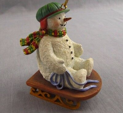 "Susan Winget Snowman 3.5"" Christmas Ornament Snow Sled Lang & Wise 1998 Sledding"