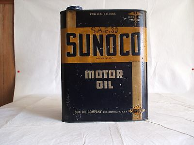 Vintage SUNOCO Mercury Made 2 Gallon Motor Oil Can Dated 1937 - Rare - LOOK -