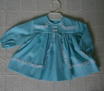 Vintage Baby  Dress - Age 3 months - Turquoise - Lace Trimmed - New