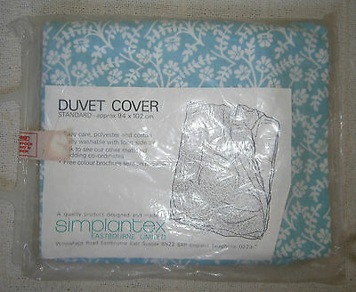 Vintage Baby Cot Duvet Cover - Turquoise/White Floral - 100% Cotton - New
