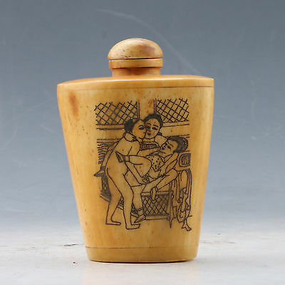 Chinese GuDiao Handwork Carved Woman & Man Snuff Bottle XZ010