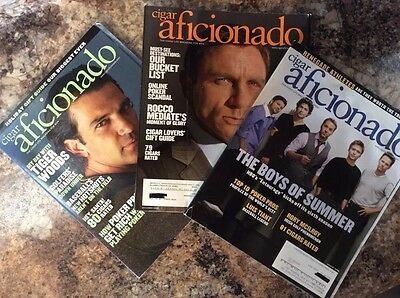 3 Cigar Aficionado Magazines~Antonio Banderas~James Bond~HBO's Entourage