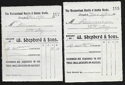 Two Westmorland bobbin mill letterheads, 1912, Cumbria industrial archaeology