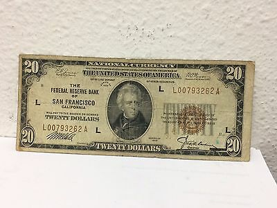 1929 National Currency $20 San Francisco Note CIRCULATED