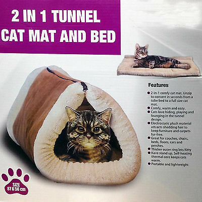 2 in1 Tunnel Kitty Kave Thermo Self Heating Cat Kitten Puppy Bed Lounge Play Mat