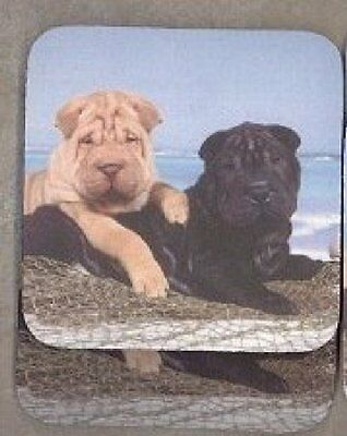 CHINESE SHAR PEI PUPPIES Rubber Backed Coasters #0658