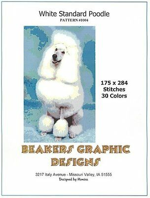 POODLE, WHITE STANDARD Counted Cross Stitch detailed #1004