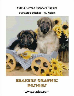 GERMAN SHEPHERD PUPS Counted Cross Stitch detailed #0934
