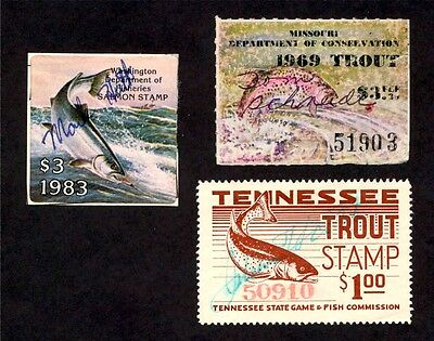 Lot of 3 - Trout Stamps - Missouri Tennessee Washington - Used and Hinged