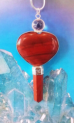 Large RED JASPER HEART POINT CRYSTAL PENDANT, STERLING SILVER CHAIN, NECKLACE