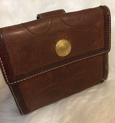 Vintage Coach Brown Leather Stitched C Wallet Billfold Square 5 x 4