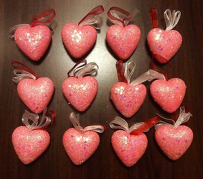 New SET OF 12 PINK HEART ORNAMENTS VALENTINE'S DAY WINTER SPRING DECOR
