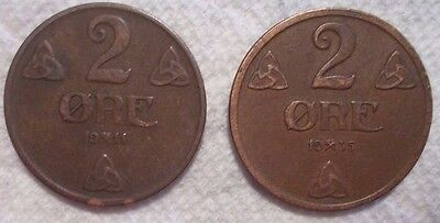 2~ Norway 2 Ore KM# 371 Bronze Coins 1911 & 1935