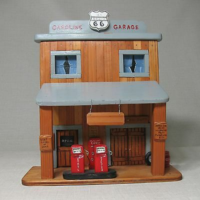 WESTERN ART by ADELLE HANDMADE WOOD OOAK GAS STATION GASOLINE GARAGE US ROUTE 66