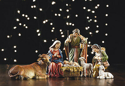 YC168  Nativity Set 6 piece tallest 5 inch. Painted Stone resin Holy Family