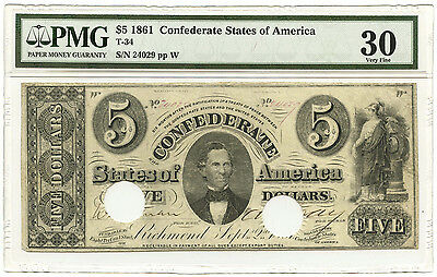 1861 $5 CSA Confederate States of America Note T-34 PMG VF-30 Cancelled