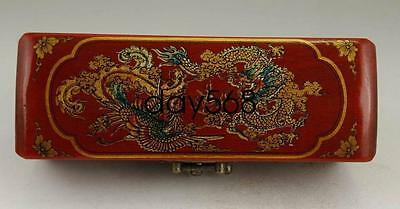 Chinese old leatherwood handwork painting dragon Phoenix jewel box LJQ38