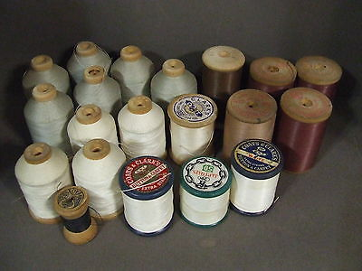 Lot Of 20 Vintage Mixed Color, Brands & Size Thread On Wooden Spools