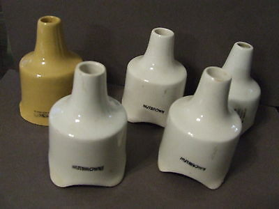 Lot Of 5 Pie Bird Vent Funnel Vintage Nutbrown Tan White (P16)