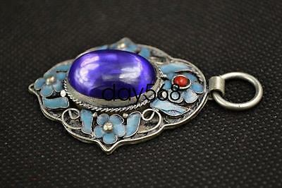 Old Decorated Handwork Miao Silver Carving. Flower Inlay Zircon Pendant LJQ30