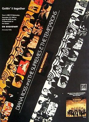 DIANA ROSS AND THE SUPREMES & THE TEMPTATIONS 1969 Poster Ad ON BROADWAY