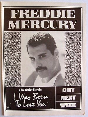 queen FREDDIE MERCURY 1985 poster type Advert I WAS BORN TO LOVE YOU mr. bad guy