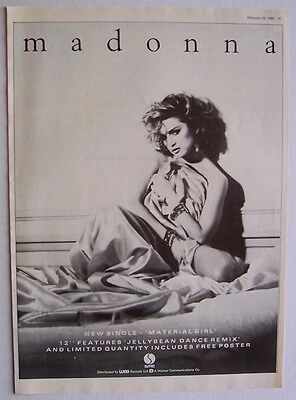 MADONNA 1985 poster type Advert MATERIAL GIRL