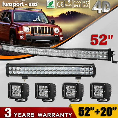 """54inch LED Light Bar Curved +20"""" Combo +4'' Pods for Ford 4x4 ATV Truck SUV 52''"""