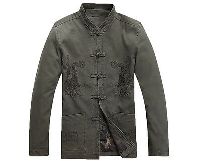 Mens Chinese Style Cotton Embroidered Dragon Jacket Kung Fu Coat Tang Suit Tops
