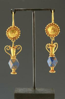 Roman Empire Greek Gold & Lapis Earrings Persian Circa 1st to 3rd Century AD