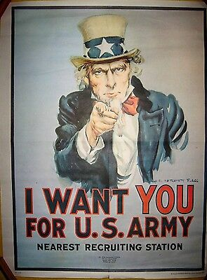 POSTER U.S. Army Recruiting I WANT YOU Uncle Sam 1975