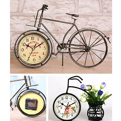 New Vintage Bicycle Clock Metal Bike Home Decor Table Clock Ornament