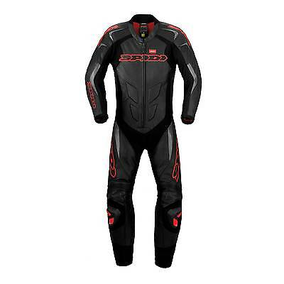 Spidi Supersport Wind Pro 1 Piece Leather Motorcycle Suit Black/Red UK 48/Eur 58