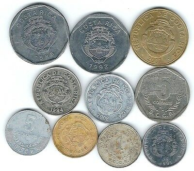 10 different world coins from COSTA RICA