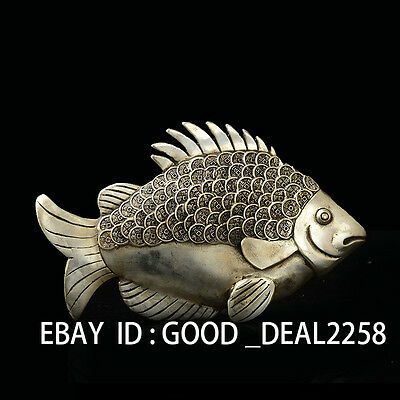 Chinese Silver Copper Handwork Carved  Fish&Coins Statue